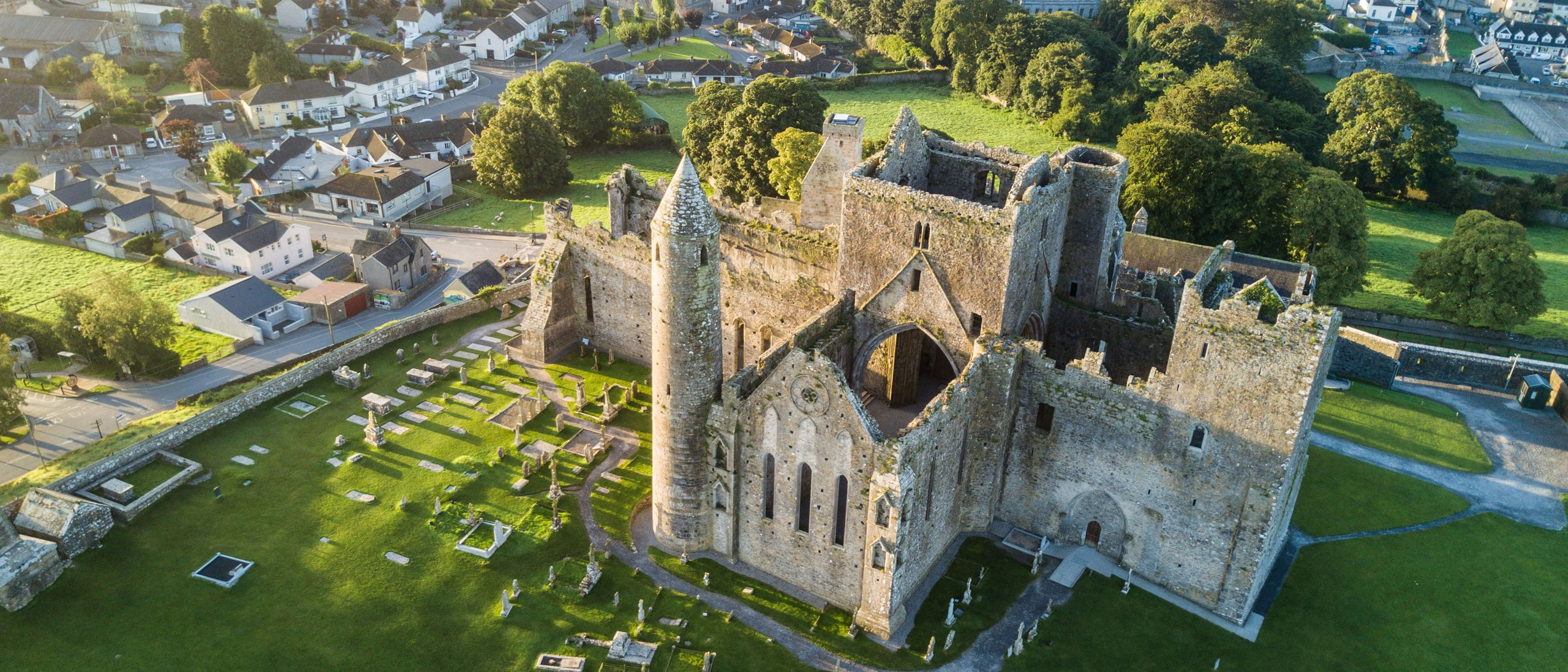 An aerial view of the rock of cashel