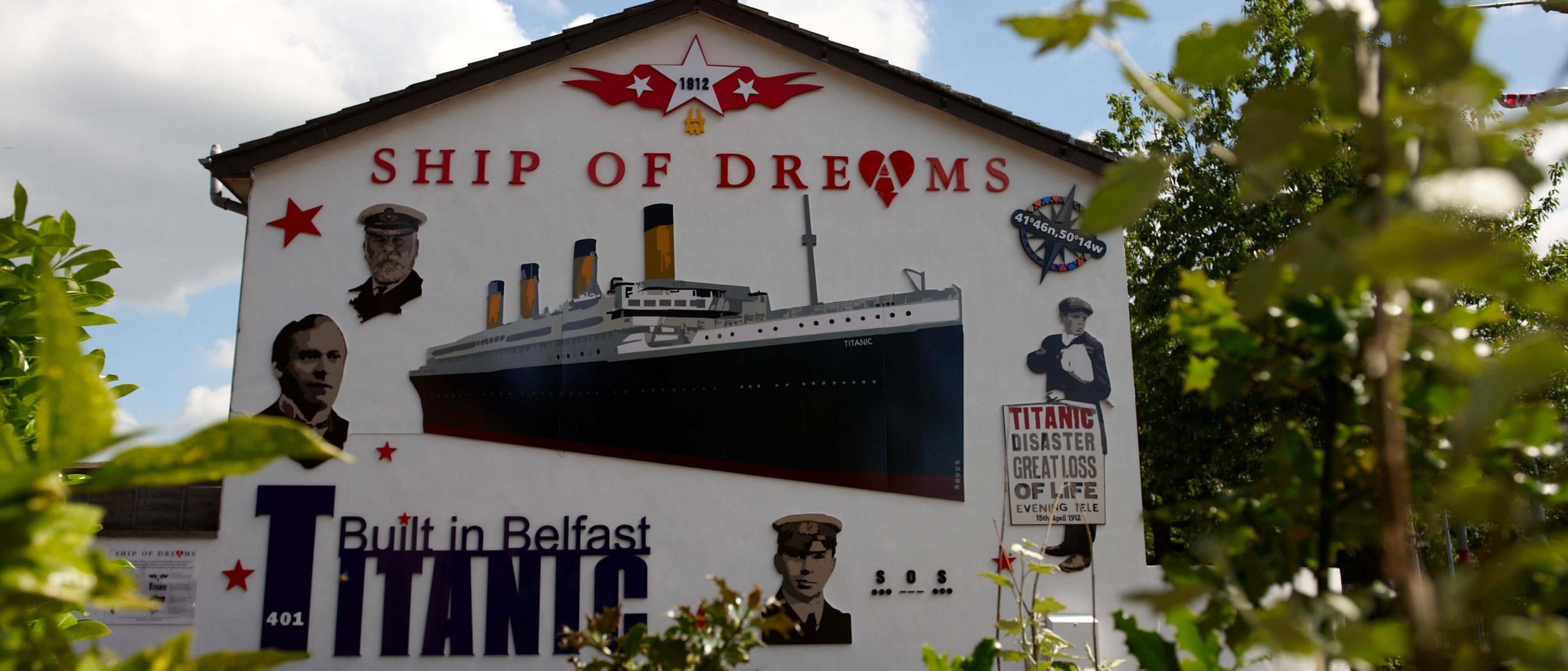 Titanic mural on a building in Belfast, Northern Ireland