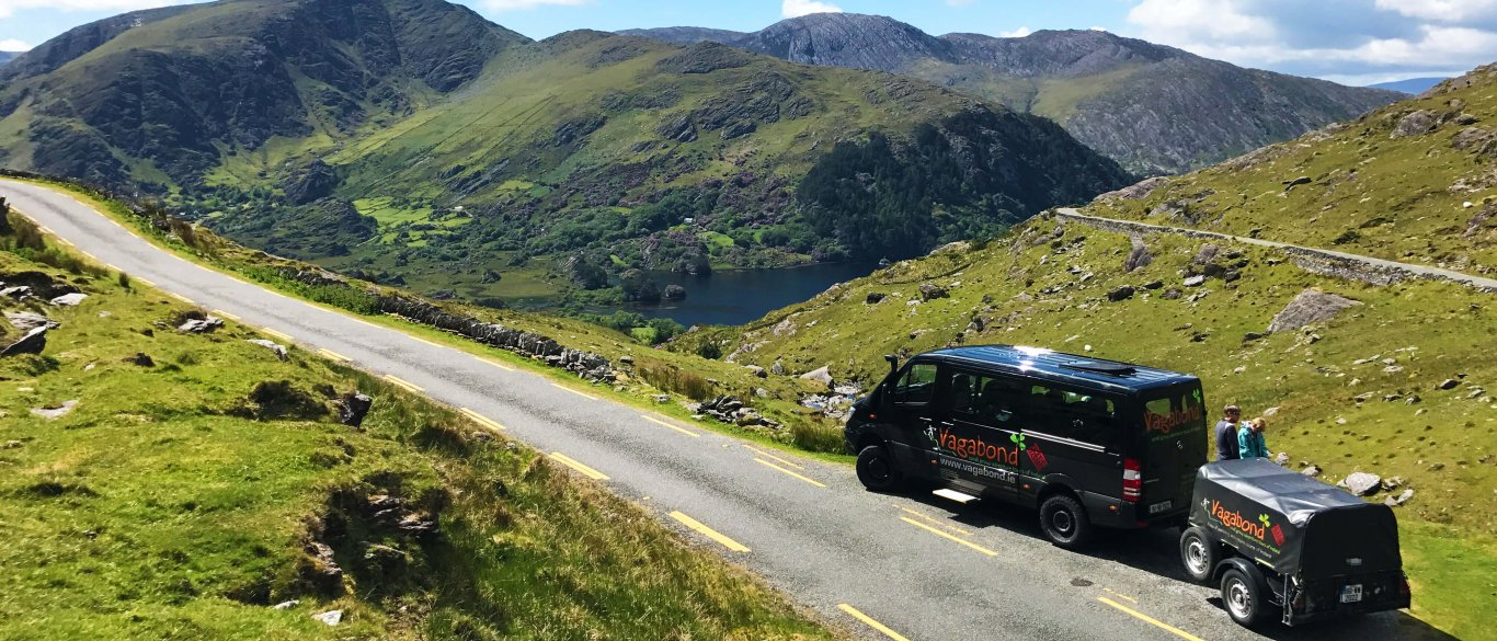 VagaTron Tour vehicle parked in a scenic location on the Healy Pass, Ireland