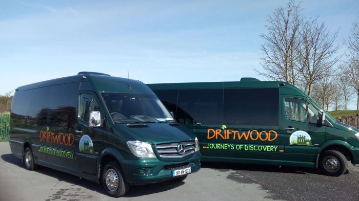 Mercedes-Benz Drifter tour vehicles with Driftwood branding