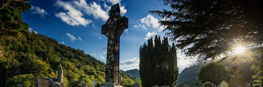 Celtic cross in Glendalough graveyard, Wicklow