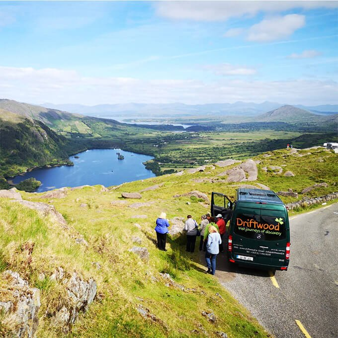 Drifter tour group on the Healy Pass in Ireland