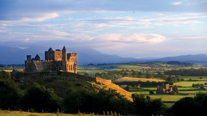 A panoramic view of the Rock of Cashel and the fields surrounding it