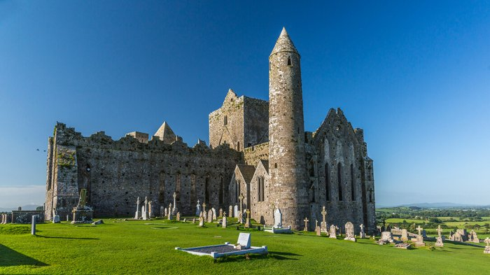 An aerial shot of the Rock of CCashel