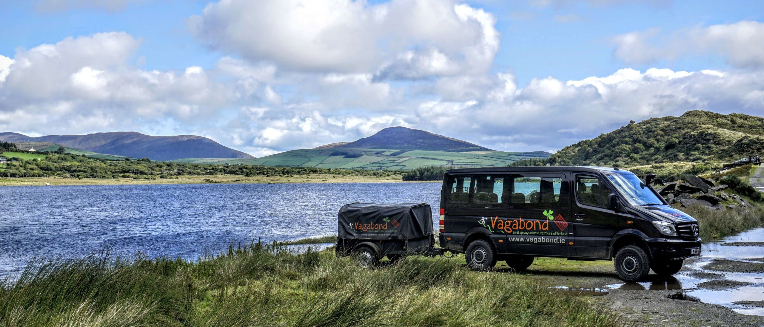 VagaTron tour vehicle at Lough Annascaul on the Dingle peninsula