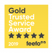 Gold Trusted Service award badge for 2019 with Feefo
