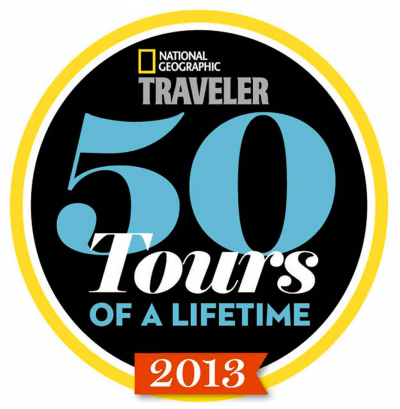 National Geographic Traveler Magazine 50 Tours of a Lifetime 2013 badge