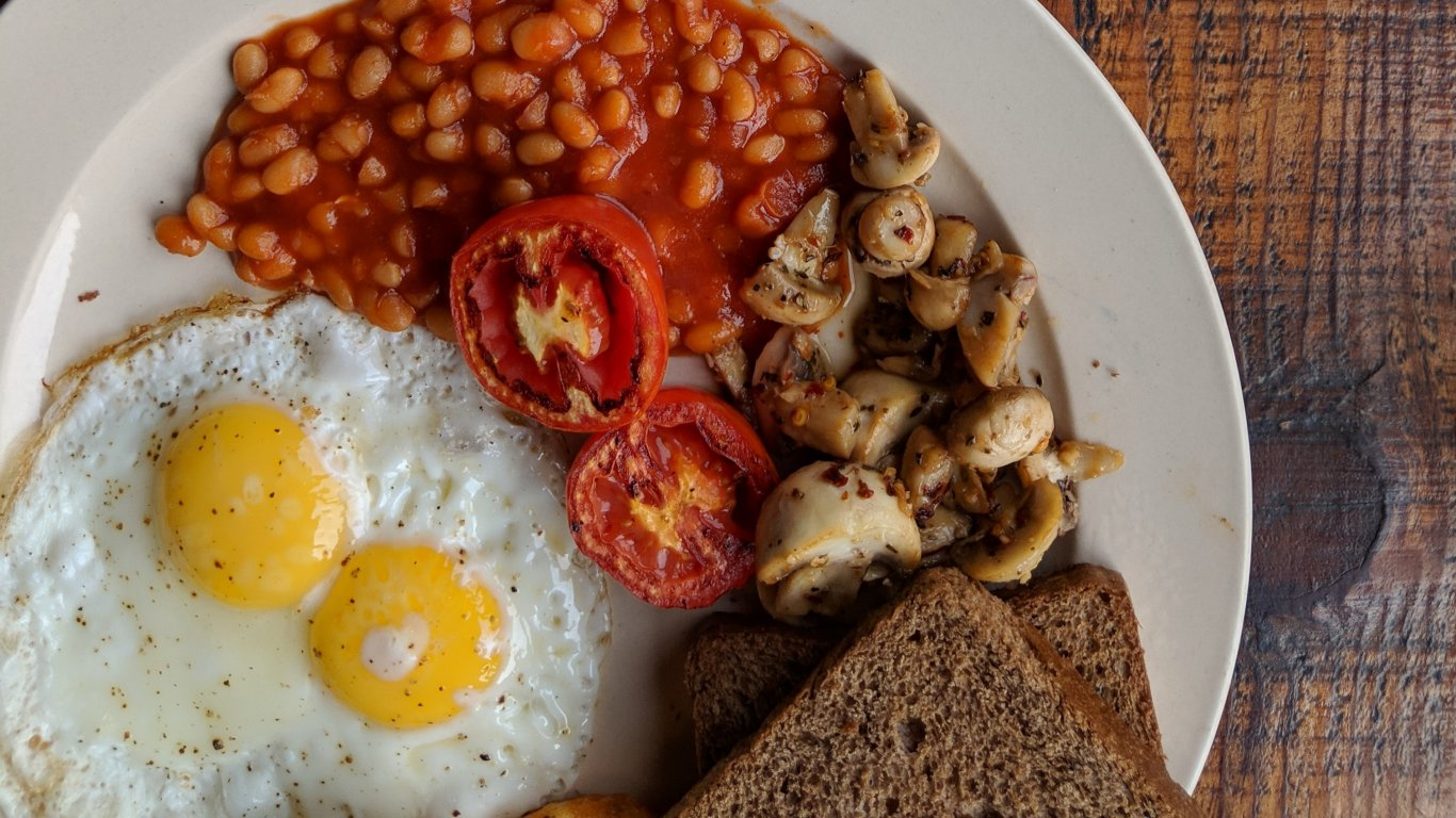 Irish breakfast featuring eggs, as included on our small group tours of Ireland