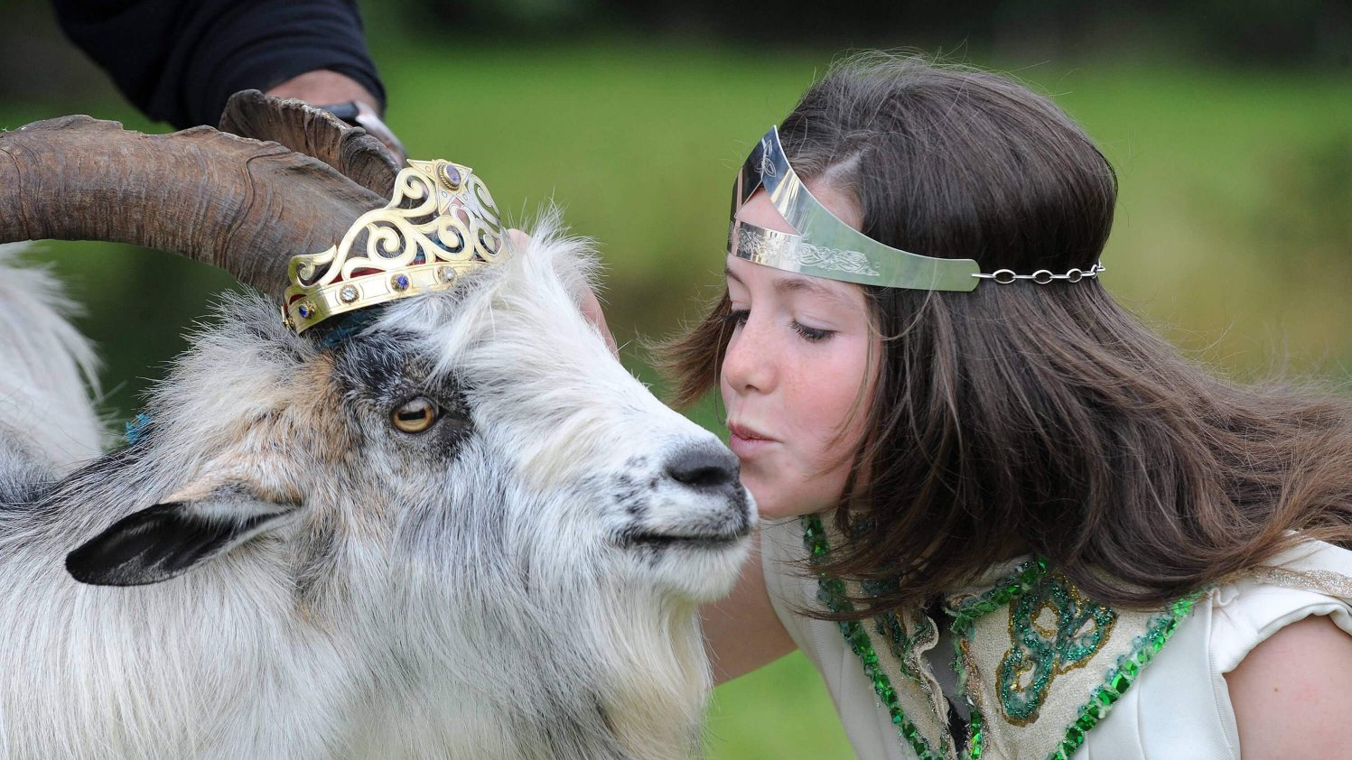 A young girl weating a tiara kissing a goat wearing a crown. Nothing weird about this.