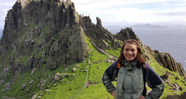 Vagabond Tours passenger on Skellig Michael