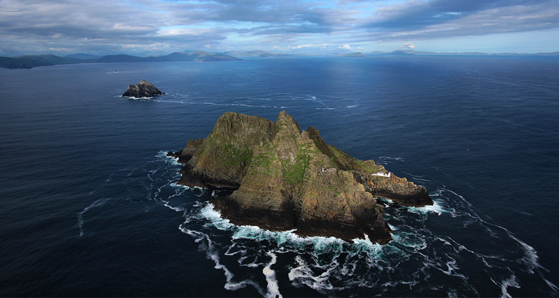 A view of Skellig Michael from the air.