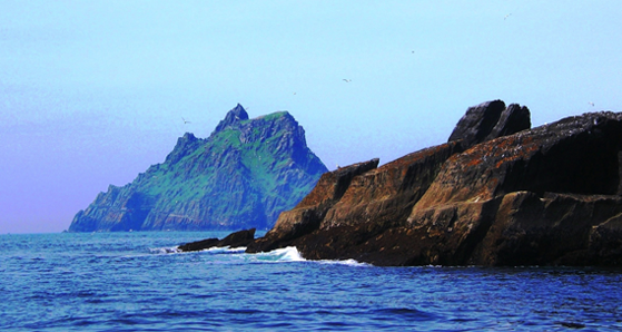 View of Skellig Michael on the boat ride out.