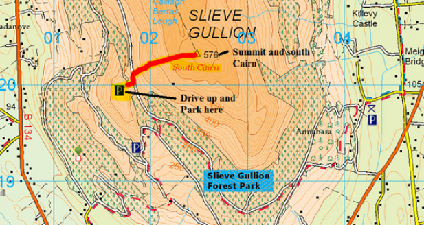 Map of Slieve Gullion - Vagabond hike