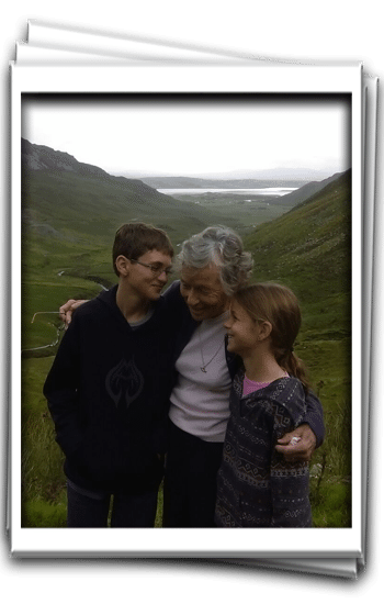 Davis and Mary show Grandma some love at Granny Pass Donegal | Multi generational travel tips