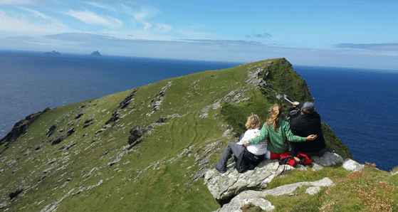 Jolene, Rachel and Kevin searching for Skellig Michael | Multi generational travel tips