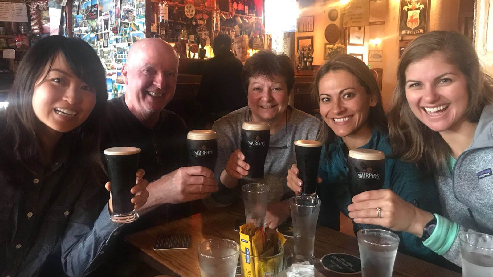 Lunch time pints of Murphy's on tour in Cork, Ireland for these Vagabond guests
