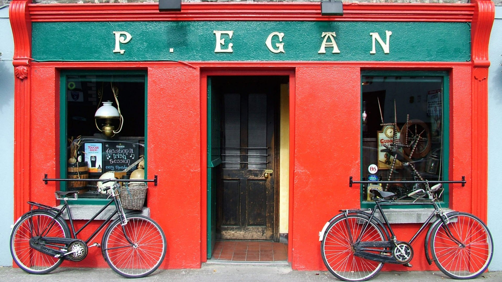 Traditional red and green Irish pub front