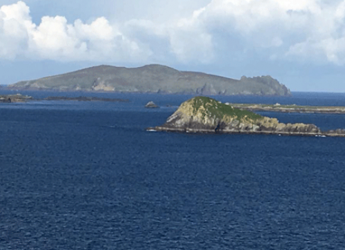 Here is Irelands Sleeping Giant (also known as the Dead Man) in the distance, viewed from our stop along the Dingle Peninsula.
