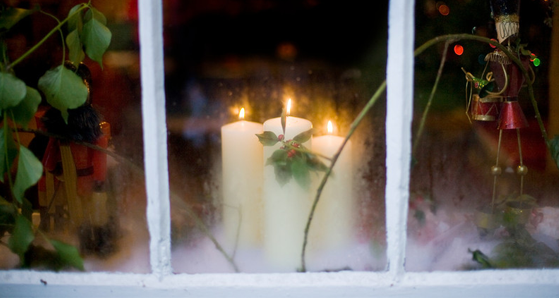 Christmas candle in the window
