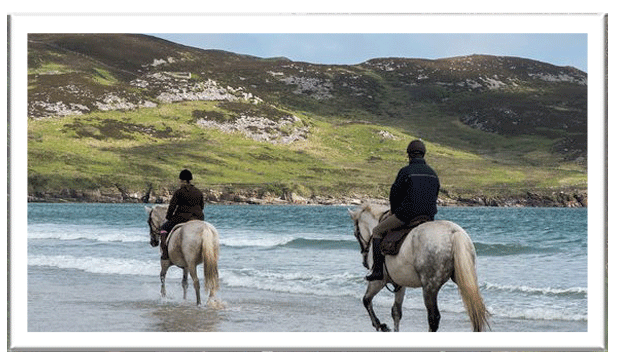 Horse-riding through the water on Dunfanaghy strand