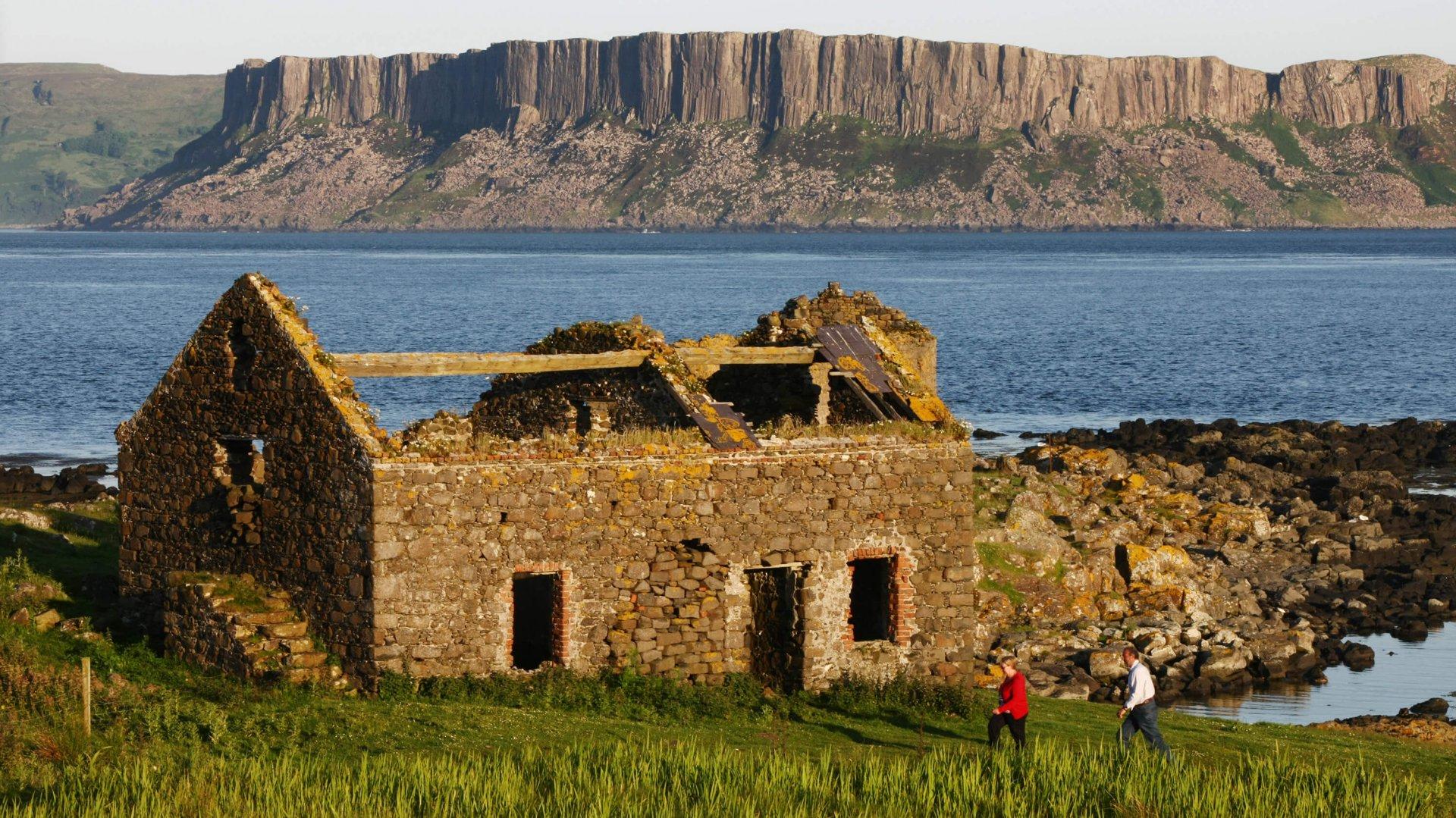 Abandonded cottage at Usher Point on Rathlin Island off the Antrim coast, Ireland