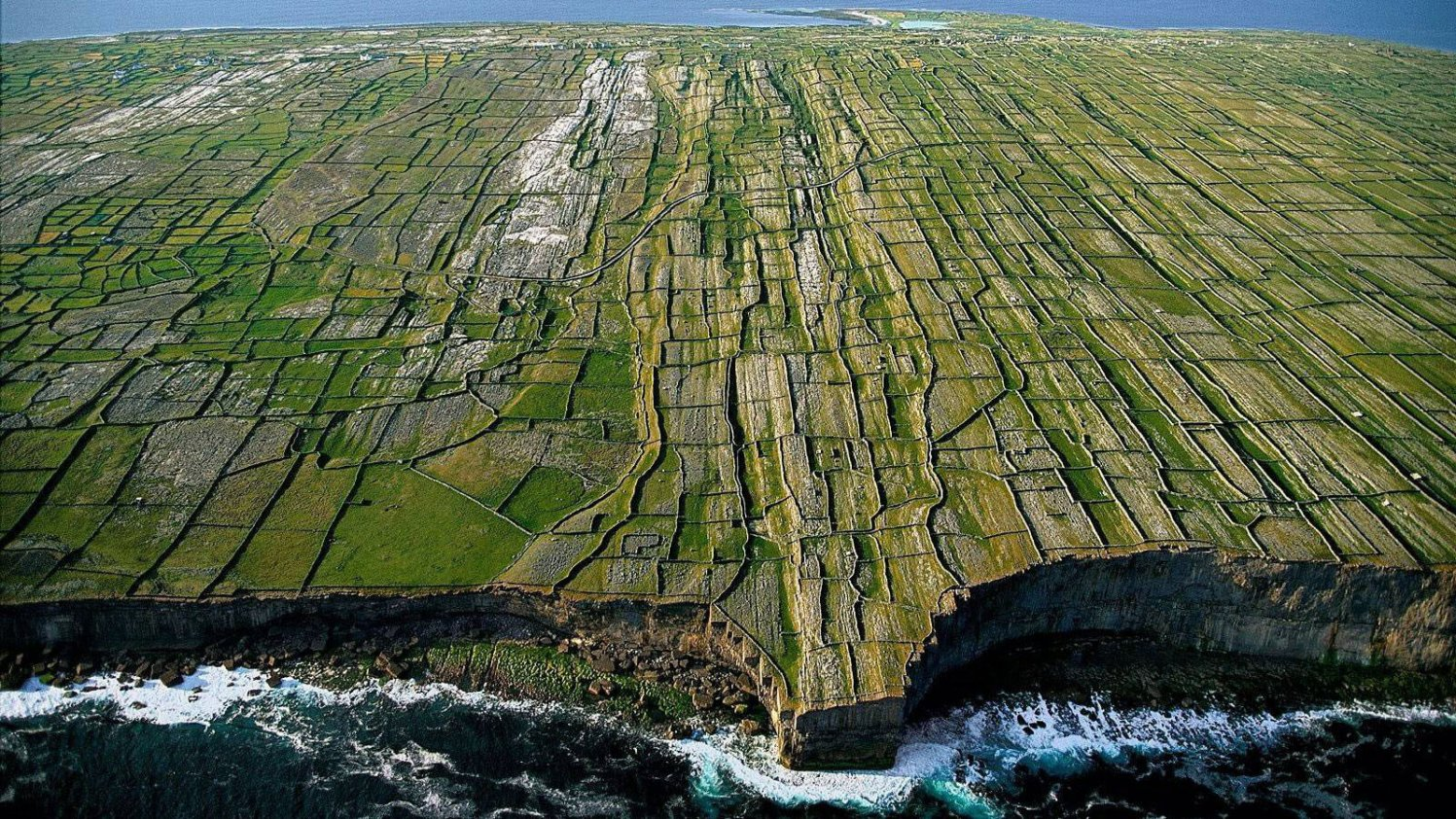 Aerial view of patchwork fields and dry stone walls on one of the Aran islands, Ireland