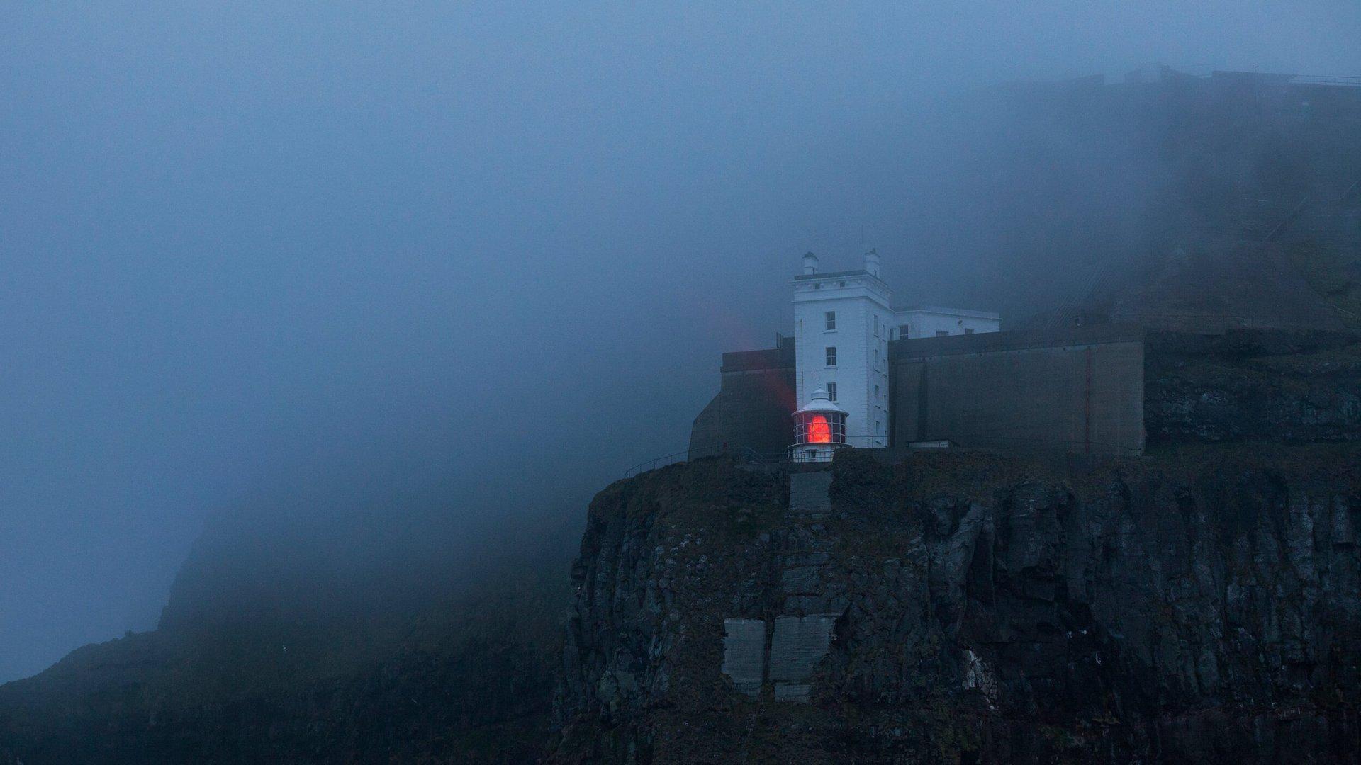 Rathlin Island lighthouse in dense fog
