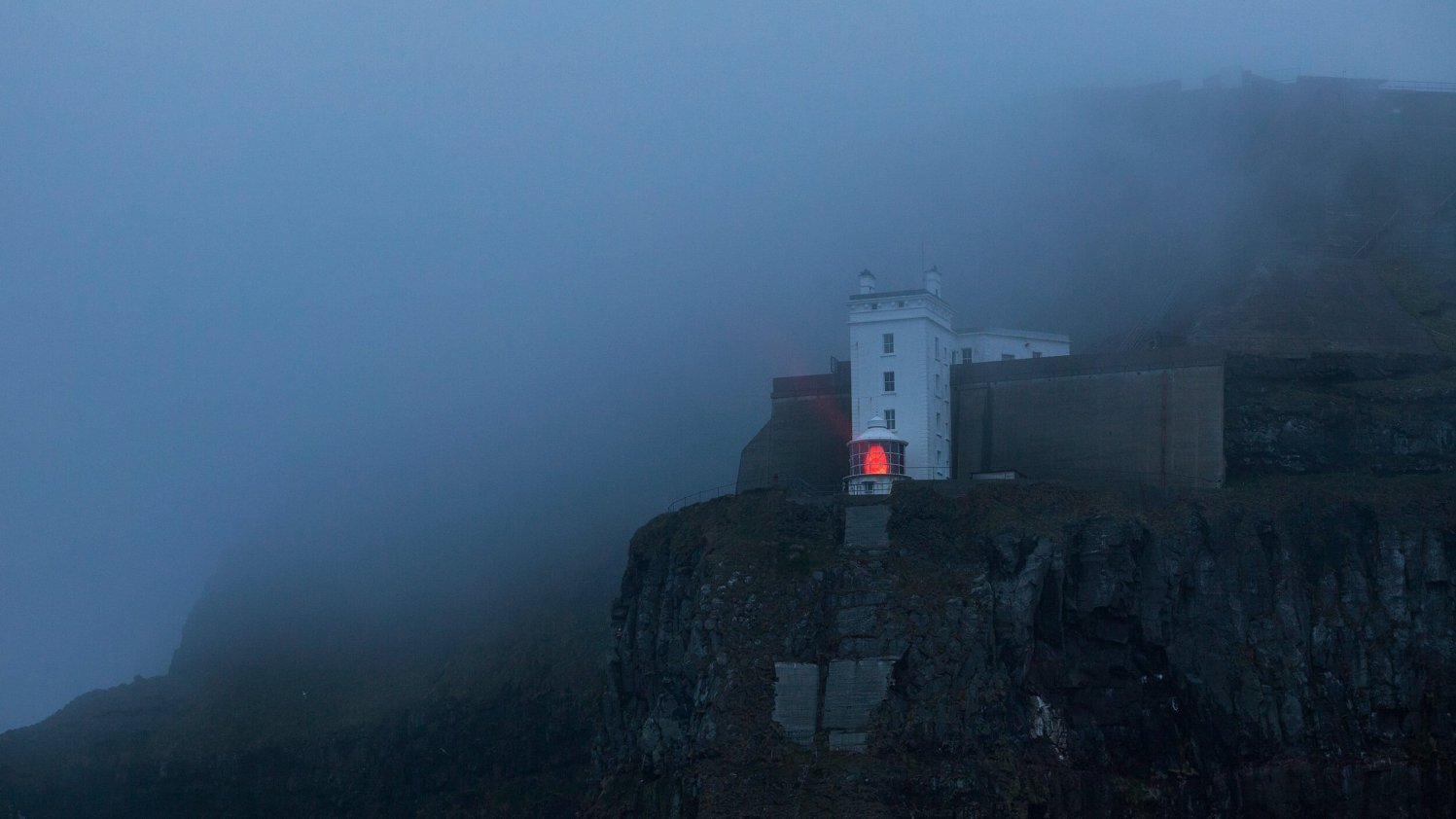 Rathlin Island lighthouse in dense fog