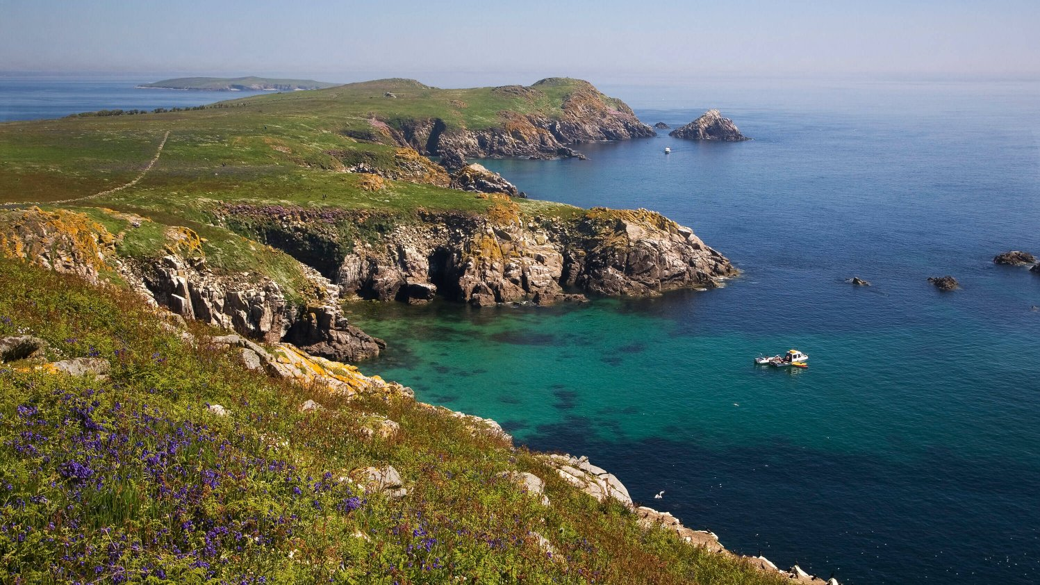 Scenic blue ocean and sea cliffs on the Saltee islands