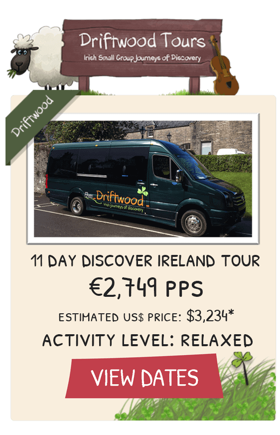 11 Day Discover Ireland Tour Tile showing tour bus and price with link to view dates