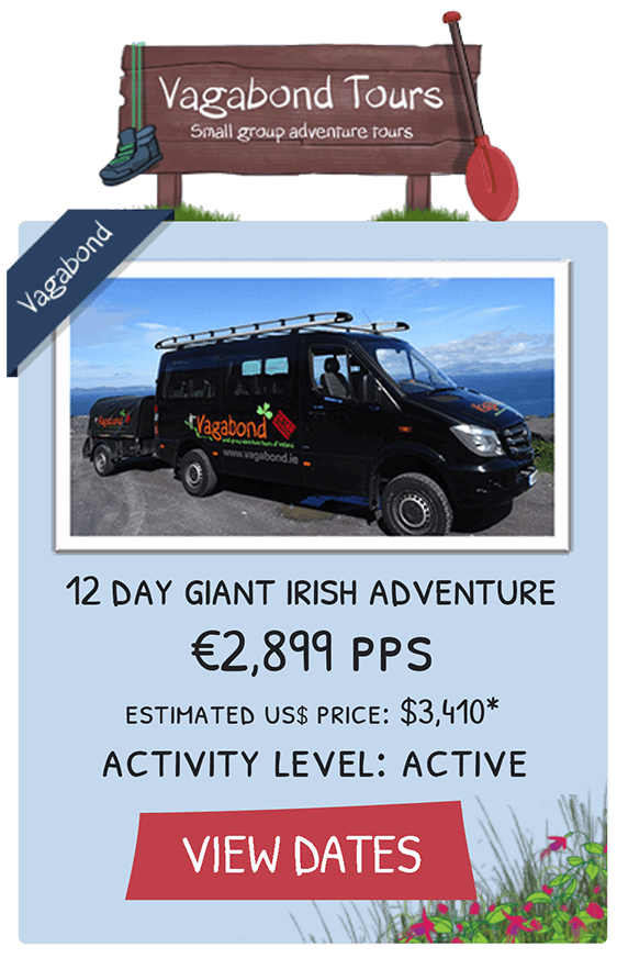 Graphic tile showing 12 Day Giant Irish Adventure tour with picture of tour bus and link to view dates