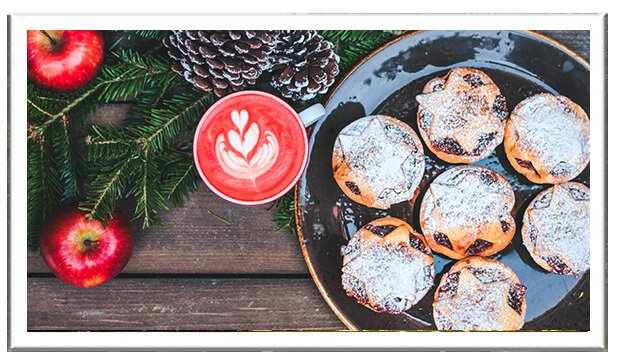 Mince pies with Christmas decorations