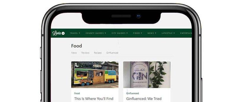 Smartphone screen with Lovin.ie app