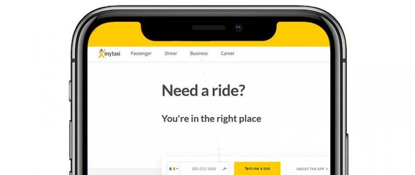 Smartphone screen with taxi app