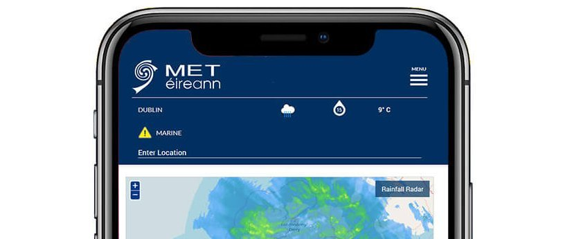 Smartphone screen with weather app