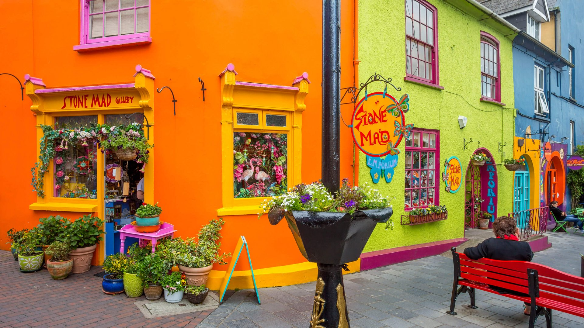 Colourful shop fronts on the streets of Kinsale
