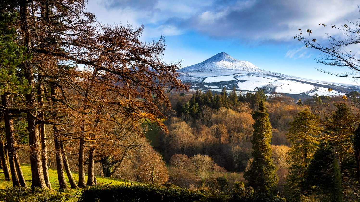 Snow capped Sugarloaf mountain in Wicklow