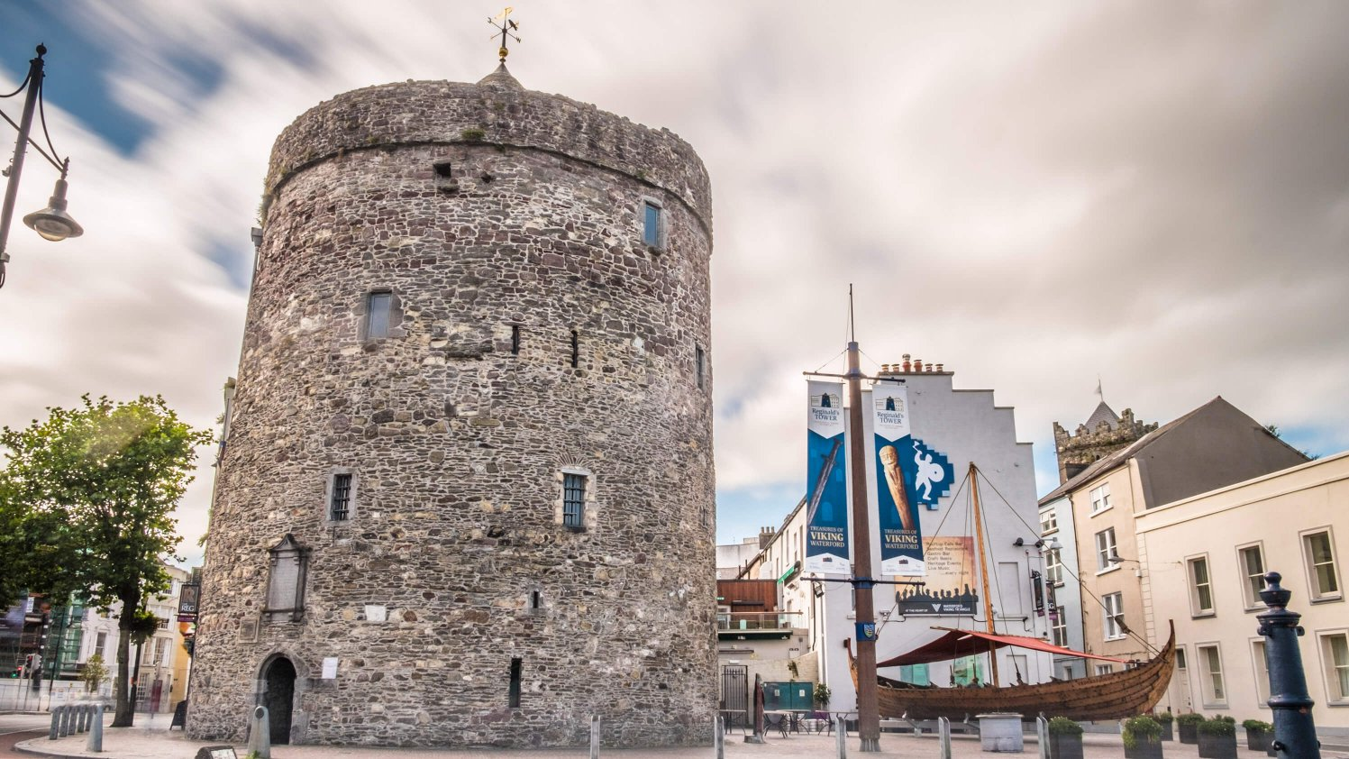 Reginald's Tower and a Viking longship in Waterford city centre