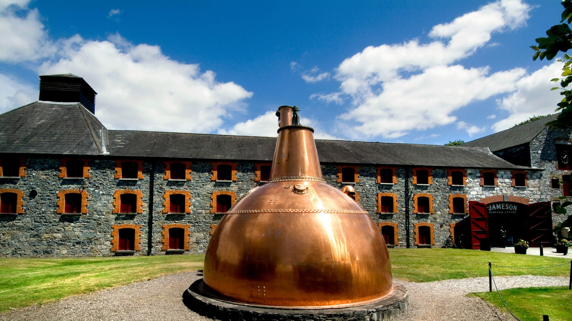 Giant copper whiskey still at Jameson Experience in Midleton
