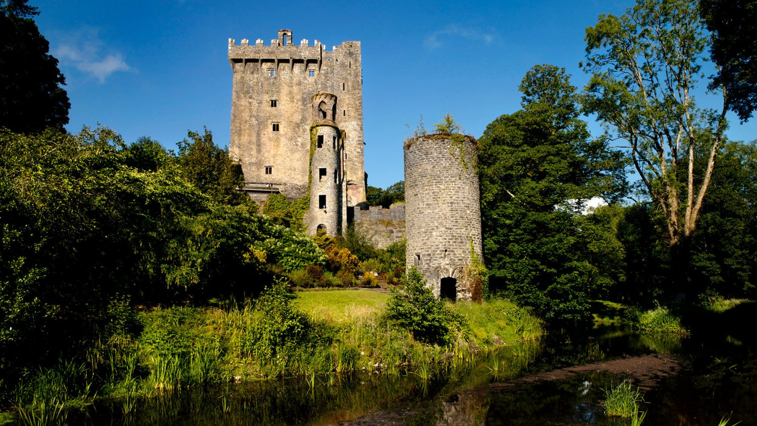 River view of Blarney Castle Gardens and Tower