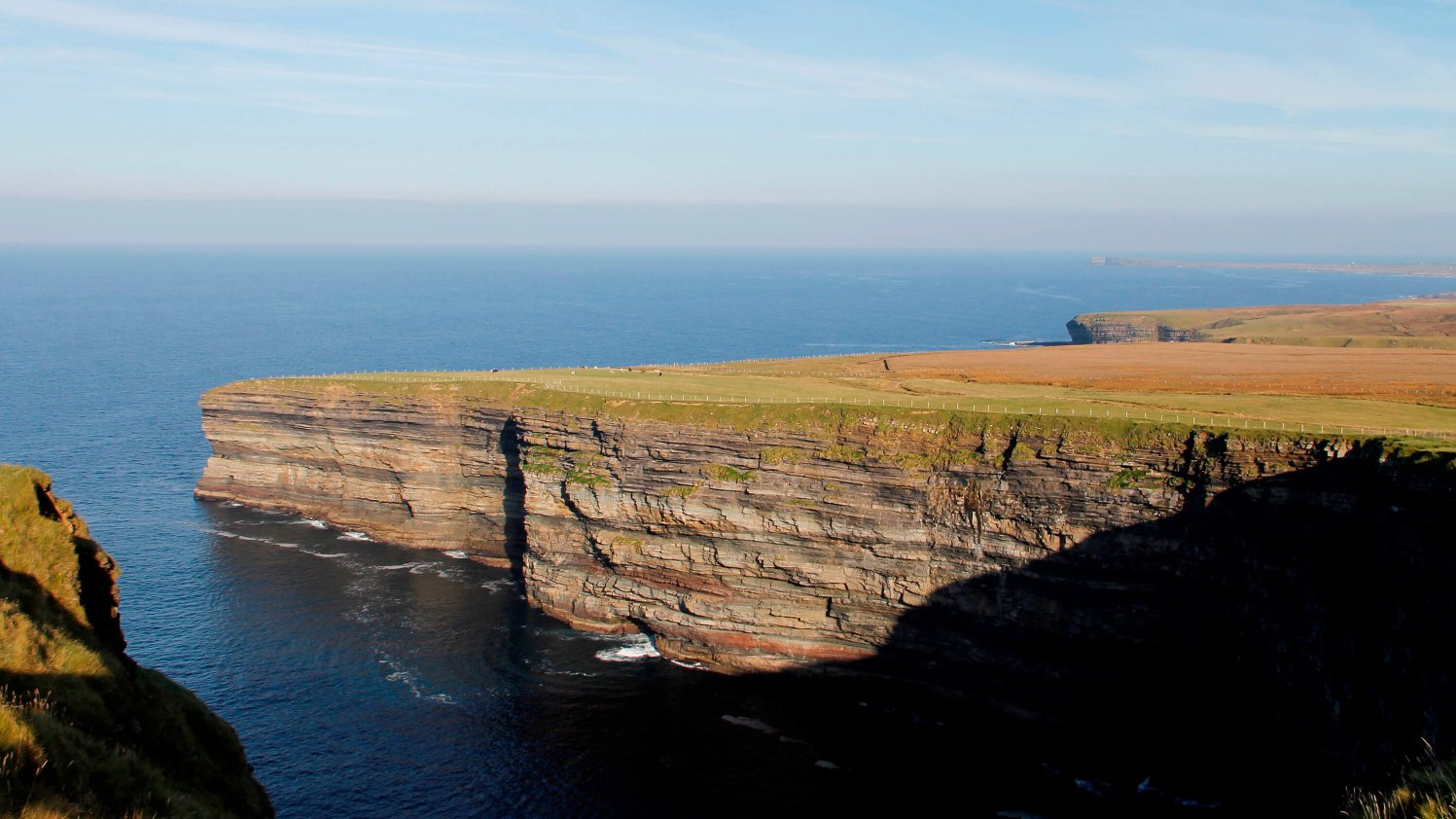 Dramatic sea cliffs surround the Cide Fields in North Mayo