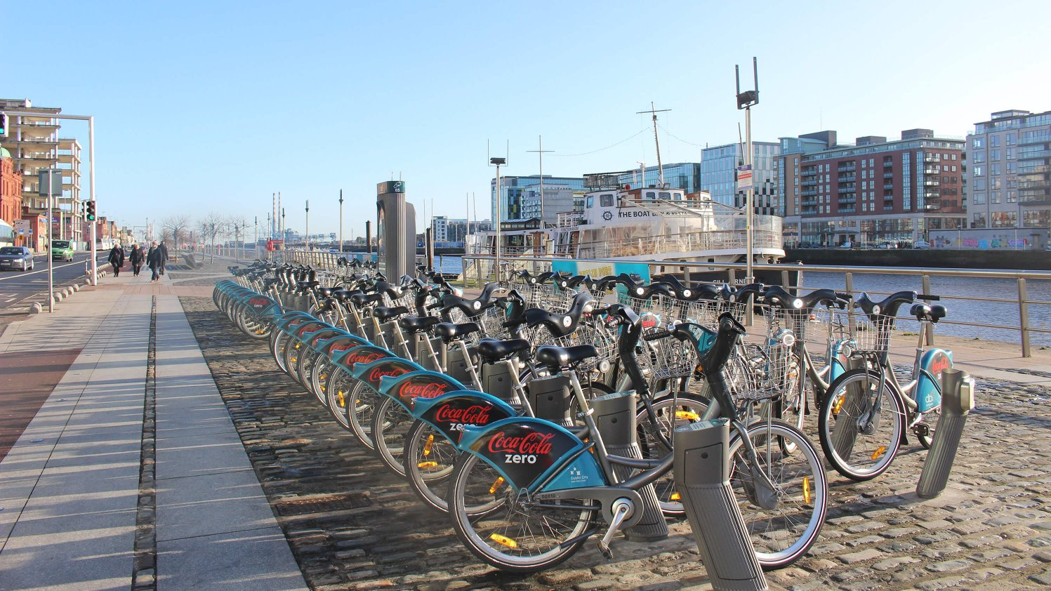 Dublin Bikes docking station on the River Liffey