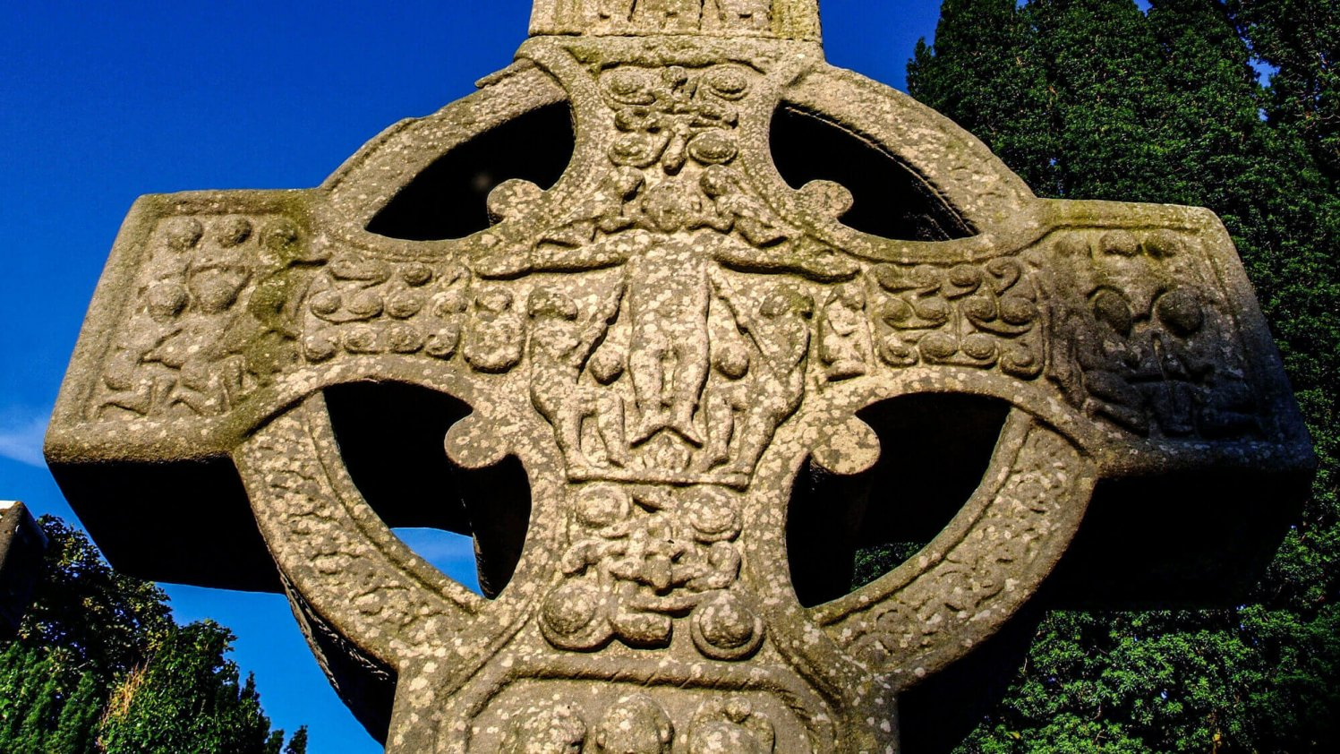 Detail of decoration on High Celtic Cross at Monasterboice in Ireland